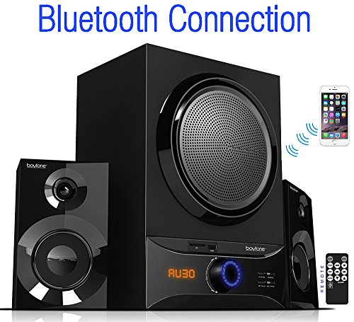 Boytone BT-209FB, Ultra Wireless Bluetooth Main unit, 30 watt, FM radio, remote control, Aux Port, USB/SD/ for Smartphone's, Tablets, Desktop Computers, Laptops, TV, Black finish - Mains Usb