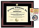 Framing Achievement 11-Inch-by-14-Inch Traditional Mahogany University Diploma Frame Single Black Mat