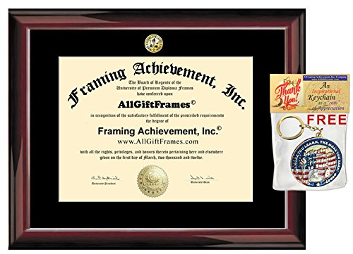 Certificate Frame   Premium Glossy Traditional Mahogany University Diploma Frame   Choice Of College Major Gold Seal Insignia   Single Black Mat   College Degree Frame