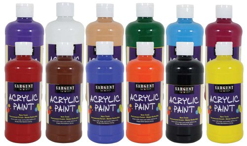 Sargent Art 24-2499 16-Ounce 12-Count Acrylic Assorted Set - Sargent Acrylic Paint