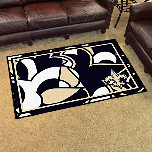 4'x6' NFL New Orleans Saints Rug Sports Football Area Rug Team Logo Printed Large Mat Floor Carpet Bedroom Living Room Lounge Home Decor Athletic Game Fans Gift Nonslip Backing Ultra Plush Soft Nylon ()
