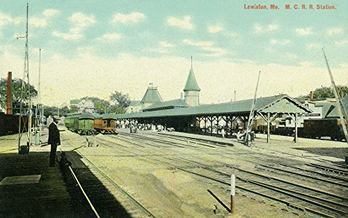 Lewiston, Maine - Maine Central Railroad Station View (24x36 SIGNED Print Master Giclee Print w/Certificate of Authenticity - Wall Decor Travel Poster)