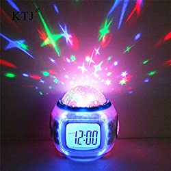 givision Sky Star Night Light Projector Lamp Bedroom Alarm Clock With music Backlight Calendar Thermometer for Children Kids Birthday Gift