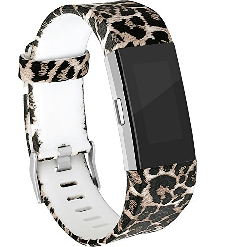 (RedTaro Bands Compatible for Fitbit Charge 2, Replacement Accessory Wristbands Animal Print)