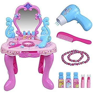 Girls Pink Vanity Table Childrens Kids Dressing Light Up Sound Hair Mirror Make  Up Desk Toy