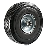 "NK Heavy Duty Solid Rubber Flat Free Tubeless Hand Truck/Utility Tire Wheel, 4.10/3.50-4"" Tire, 2-1/4"" Offset Hub, 5/8"" Bearing"