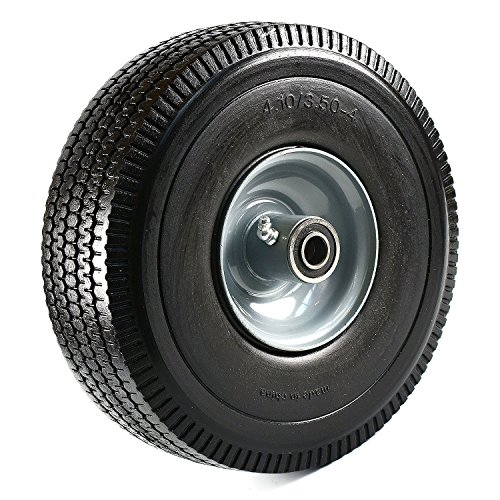Troy Bearings (NK Heavy Duty Solid Rubber Flat Free Tubeless Hand Truck/Utility Tire Wheel, 4.10/3.50-4
