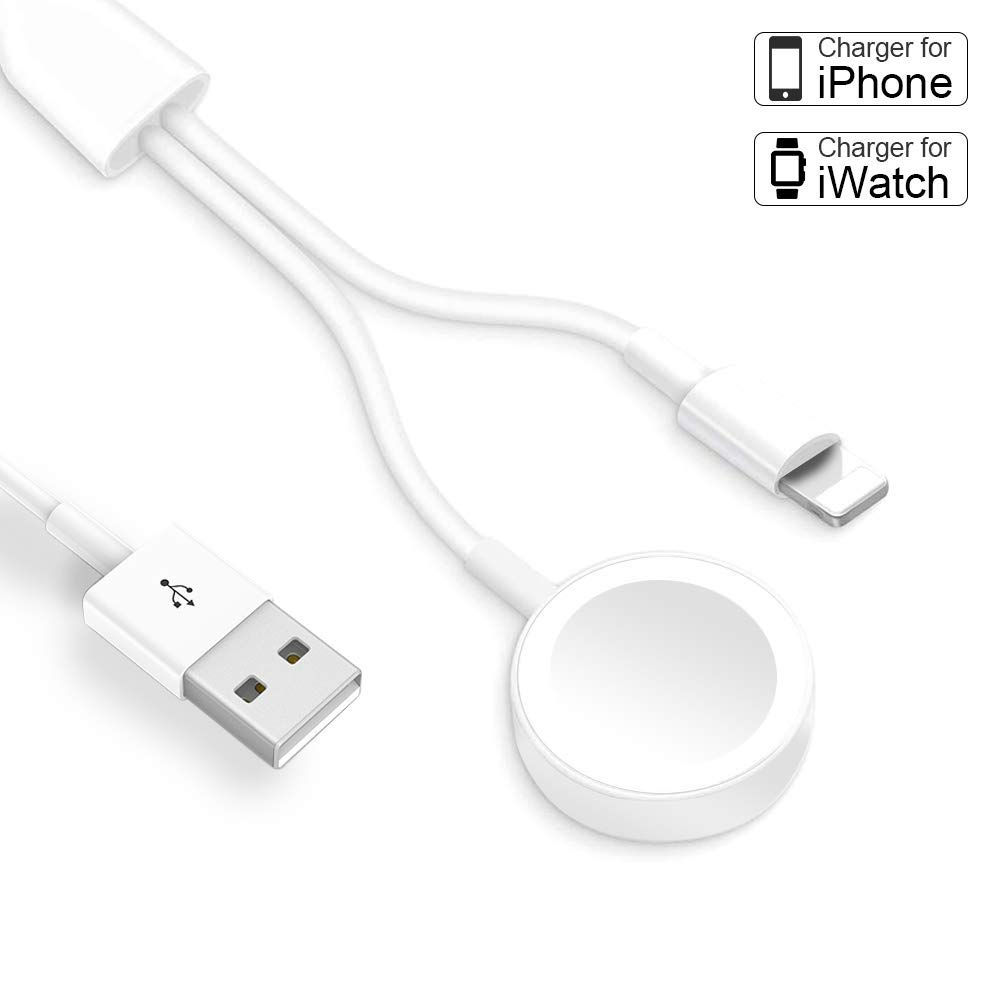 Compatible with iWatch Charger 5/4/3/2/1 & iPhone Watch Charger, Wireless 2 in 1 Smart Watch Phone Charger Cable for iPhone 11/ Max/ XR/ XS/XS Max/X/ 8/ 8P/ 7/7P and iPad Series.