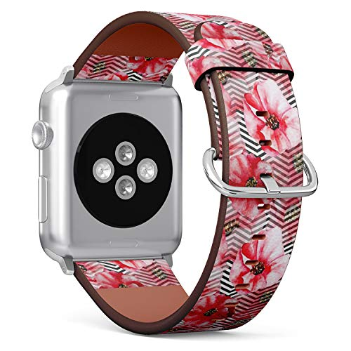 Poppies Printed Modern (Compatible with Apple iWatch Series 1/2 / 3/4 (Small Version 38/40mm), Replacement Leather Bracelet Wristband Strap [ Watercolor Poppies Modern ])