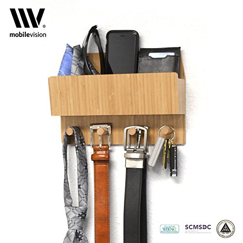 Wall Mount Organizer for Belts Hats Visors Keys Ties Scarfs Umbrellas with Compartment for Mail Phone Wallet Head Phones & more important (Tie Wallet)