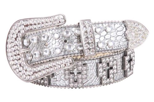 (Western Rhinestone Cross Ornaments Croco Print Leather Belt Size: L/XL - 39 Color: Silver)