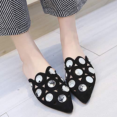 Indossare GTVERNH Le Da Scarpe black Resistenza Semi Fondo Baotou Grande Moda Donna Le Summer Piatto donna Scarpe Pantofole da Pantofole rrAw0R1q