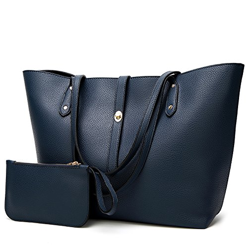 Navy Leather Purse - YNIQUE Satchel Purses and Handbags for Women Shoulder Tote Bags Wallets