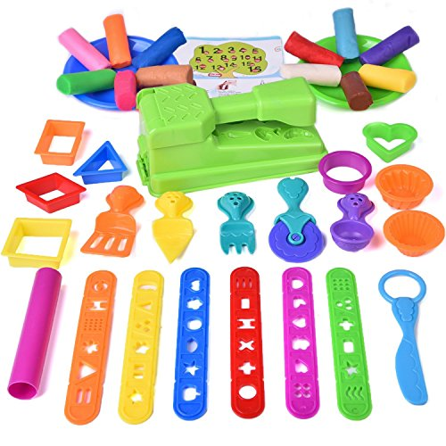 Kids Clay Dos, Preteugh Tool Playset, Toddler Tool Set & Play Kitchen Food Creation Cooking Set With Squeeze Machine, Dough Molds Cutters, Shapes Maker, Play Rolling Pin- 36 PCs (Clay Included)