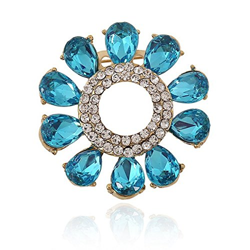 Gupiar Fashion Blue Rhinestone Flower Wreath Alloy Crystal Brooch Pin Badge Sweater Shawl Scarf Buckle Costume Lapel Tack