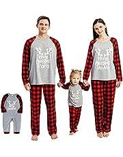 Borlai Familie Kerst Pyjama Bijpassende Nachtkleding voor Vrouwen Mannen Kinderen Xmas Nachtkleding Homewear