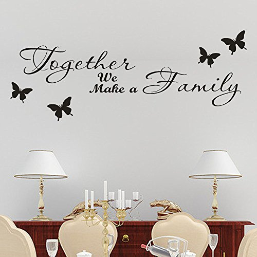 Together We Make a Family Wall Stickers, E-Scenery Inspirational Quotes Peel and Stick DIY 3D Wall Decals Mural Art Wallpaper for Kids Room Home Nursery Party Window Decor, Black