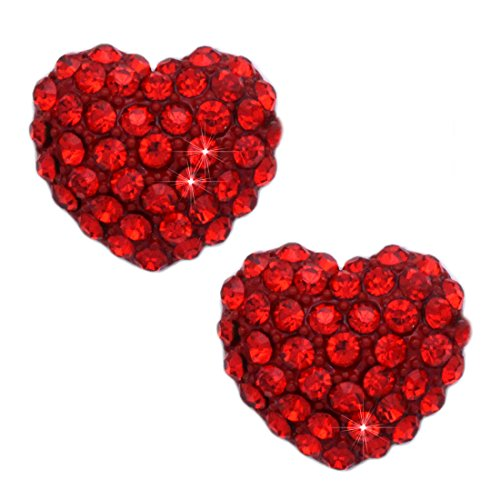 cocojewelry Red Pink Crystal Pave Heart Earrings Valentine