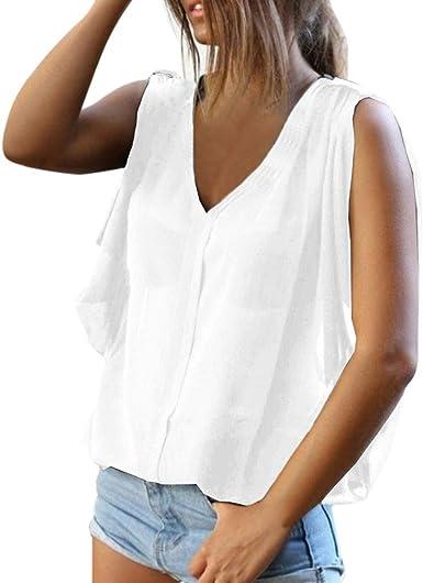 VEMOW Blusas Mujer Tops Mujer Camisetas Verano Frío Hombro Chaleco sin Mangas Camisa Casual Túnica Tops Blusa: Amazon.es: Ropa y accesorios