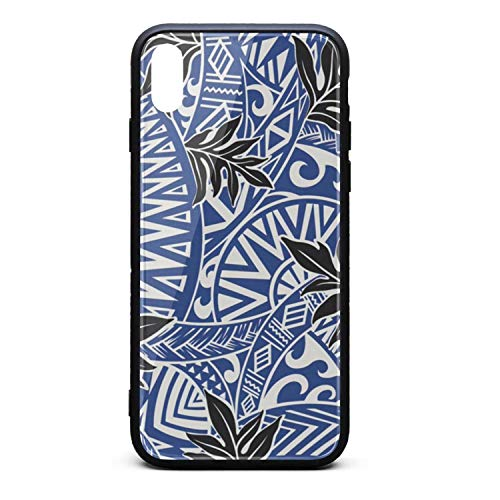 HawaiianFabric - Tropical Floral Polynesian Tattoo Tapa Phone Case for iPhone Xs Max TPU Protective Cool Anti-Scratch Fashionable Glossy Anti Slip Thin Shockproof Soft Case -