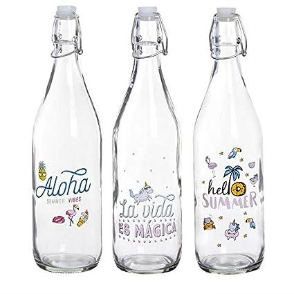 D,casa - Botellas de Agua con diseño Summer (Pack 3 Botellas)