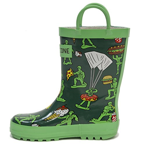 LONECONE Rain Boots with Easy-On Handles in Fun Patterns for Toddlers and Kids, Army Men, Toddler 9