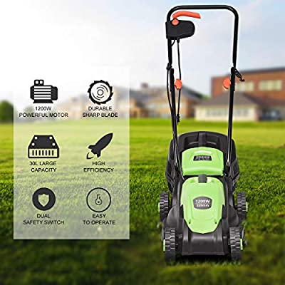 Goplus 14-Inch 12 Amp Lawn Mower w/Grass Bag Folding Handle Electric Push Lawn Corded Mower
