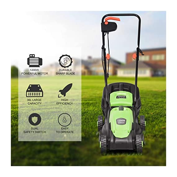 Goplus 14-Inch 12 Amp Lawn Mower w/Grass Bag Folding Handle Electric Push Lawn Corded Mower 2 【Height Adjustable and Comfortable Grip】This lawn mower features 3 level adjustable height: 1''/1.6''/2.2'', which is suitable for people of different heights. Equipped with ergonomic curved handle, it provides a more natural, comfortable grip. 【Perfect Cutting Deck】14-inch cutting deck offers a great balance of maneuverability and cutting capacity making it ideal for different areas. It is a good choice for you to clean your garden more quickly. 【Big Collection Box】With a big collection grass box, the capacity to collect grass is 30L. It makes sure that your lawn clean when you are weeding and it also is more convenient for you to quickly finish the job.