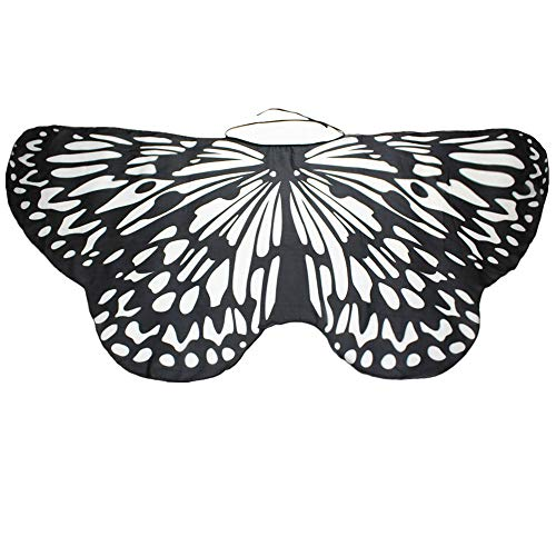 Butterfly Wing Cape Shawl Women Bohemian Butterfly Print Shawl Pashmina Costume For Girls Fancy Dress Up Accessory ICODOD(Black) -
