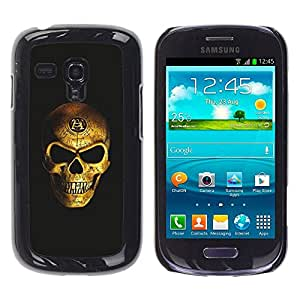 rígido protector delgado Shell Prima Delgada Casa Carcasa Funda Case Bandera Cover Armor para Samsung Galaxy S3 MINI NOT REGULAR! I8190 I8190N /Gold Bling Skull Death Vicious Black/ STRONG