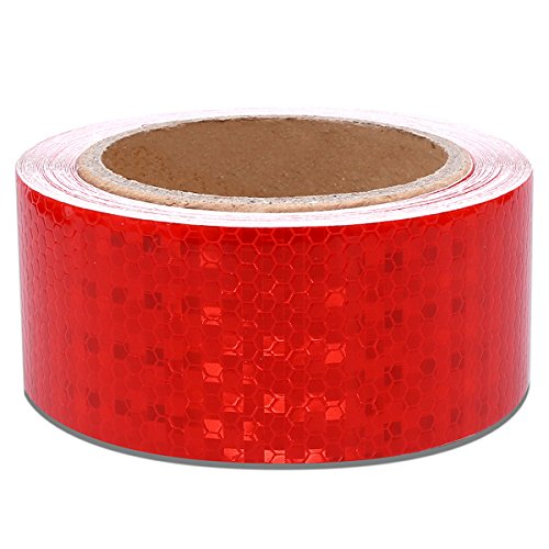 2'' X 30 Feet Red Reflective Safety Hazard Warning Caution Tape Adhsive Waterproof - Reflector Tape Red For Trailers Vehicles by AMOXI