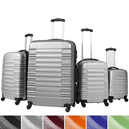 4 tlg. Trolley Koffer Hartschalen Set - Reisekoffer mit 360° Rollen XL, L, M, S (ineinander stapelbar) Farbwahl