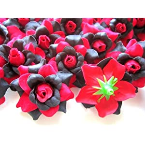 "(100) Silk Red Black Roses Flower Head - 1.75"" - Artificial Flowers Heads Fabric Floral Supplies Wholesale Lot for Wedding Flowers Accessories Make Bridal Hair Clips Headbands Dress 3"