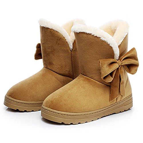 Temofon Vrouwen Winter Bont Enkel Snowboots Ronde Neus Casual Warme Schoenen Flats Bruin