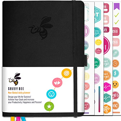 Savvy Bee Planner - Best Daily Journal and Organizer for Productivity and Self Mastery   Monthly Calendar, Gratitude journal, Habit tracker to Achieve Goals   Leather Hardcover Undated planner 2019