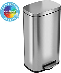 iTouchless SoftStep 8 Gallon Step Trash Can with Odor Control System and Removable Inner Bucket, Stainless Steel 30 Liter Kitchen Garbage Can Perfect for Home & Office