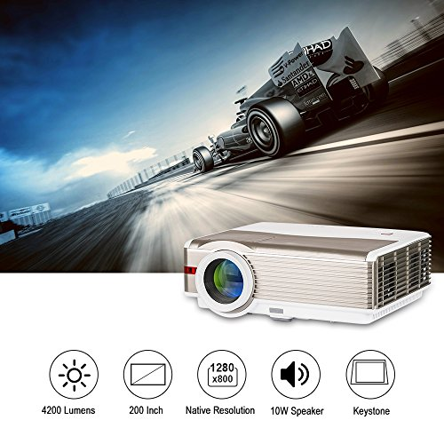 "LED LCD 4200 Lumens WXGA High Resolution Projector 200"" Home Outdoor Movie Theater Proyector with Dual HDMI,Dual USB,VGA,AV,TV,Audio Out for iPhone Smartphone DVD Playstation Xbox Games Laptop Mac"