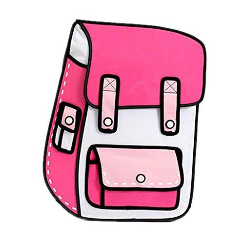 Price comparison product image FOLLOWUS 2D Drawing Cartoon Bag Comic Backpacks School Bags Daypacks (Hot Pink)