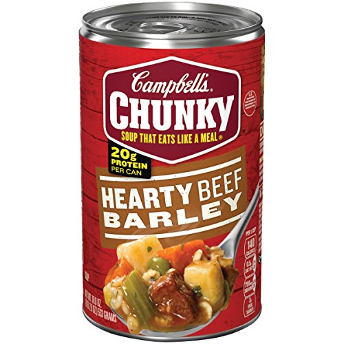 - Campbell's Chunky Hearty Beef Barley Soup, 18.8 oz. Can (Pack of 12)