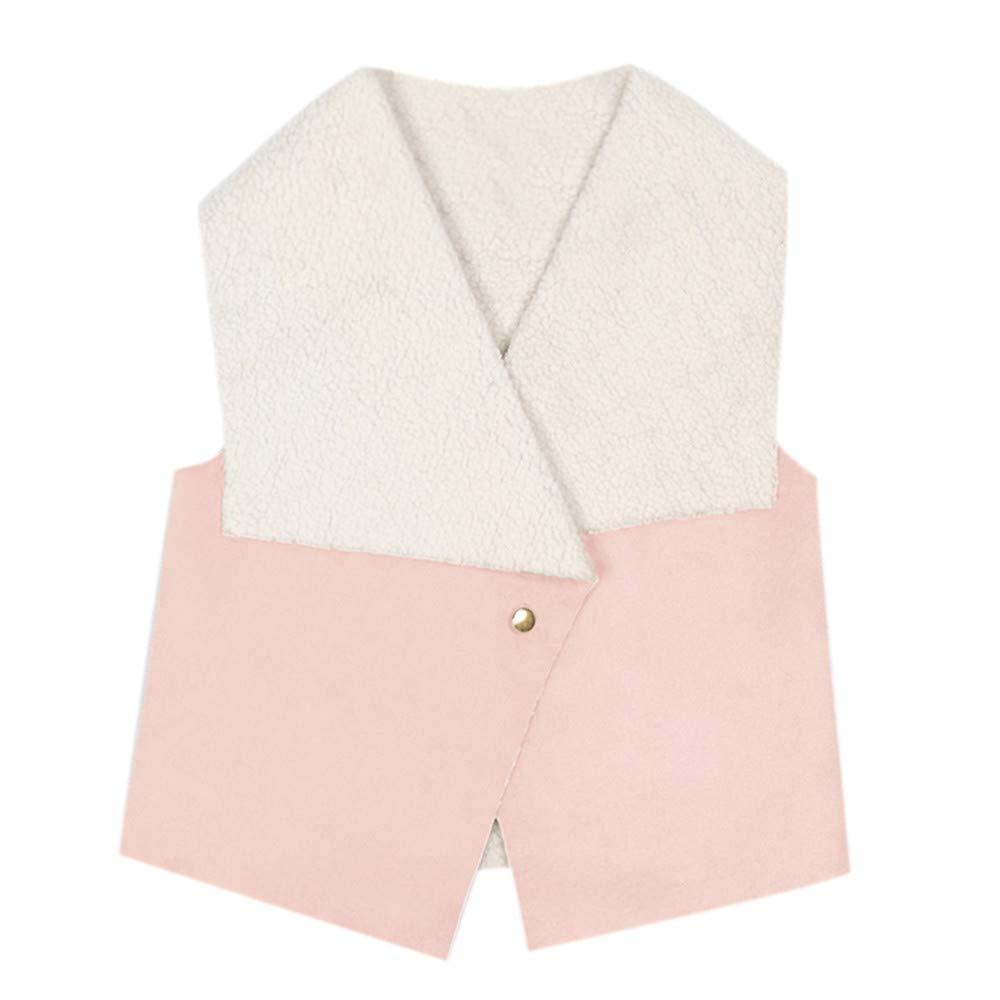 Geetobby Children Girl Sleeveless Faux Leather Vest Top Winter Warm Coat Outwear