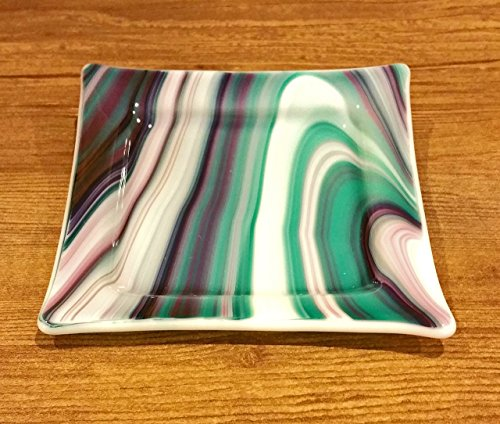 Fused Stained Glass - Blue Aqua Wave Small Plate