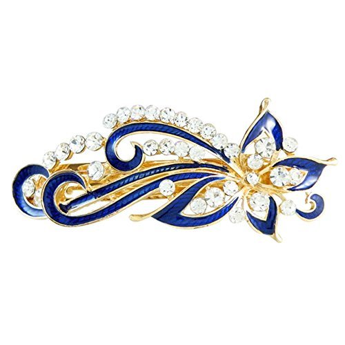 Hair Clip - TOOGOO(R) Dark Blue Rhinestones Inlaid Swirl Floral Barrette French Hair Clip