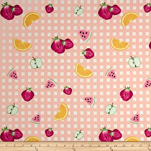 Fabric Double Brushed Jersey Knit Gingham Fruit Party, Dusty Peach