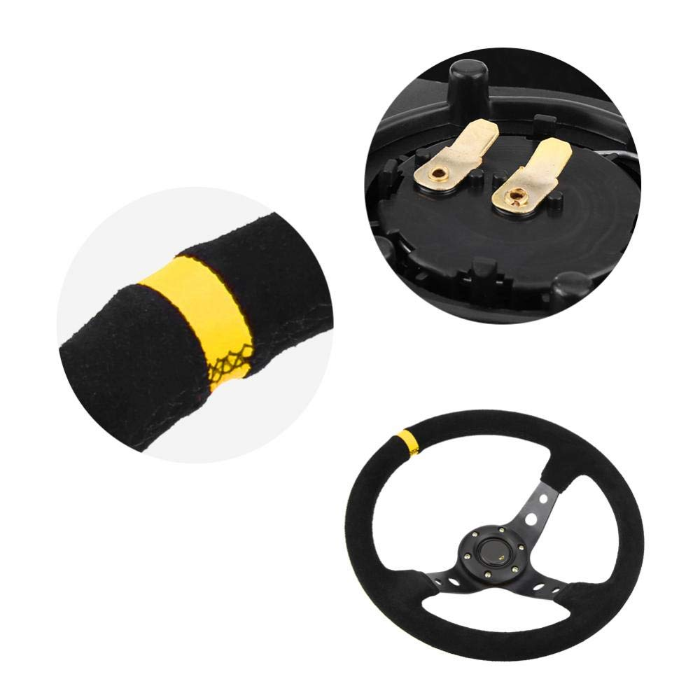Car Steering Wheel Yellow Universal 35cm//14inch 6-Bolts Auto Car Racing Steering Wheel with Horn