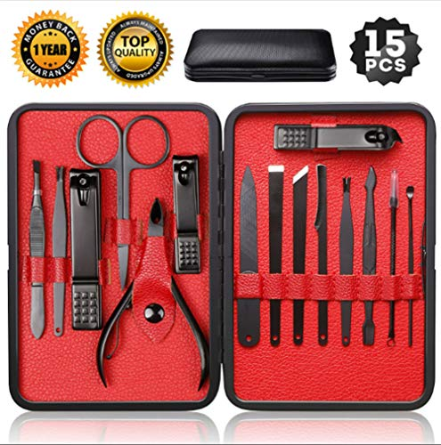 Nail Clippers Sets High density Stainless Steel Nail Cutter Pedicure Kit Nail File Sharp Nail Scissors and Clipper Manicure Pedicure Kit Fingernails & Toenails with Portable stylish case ()