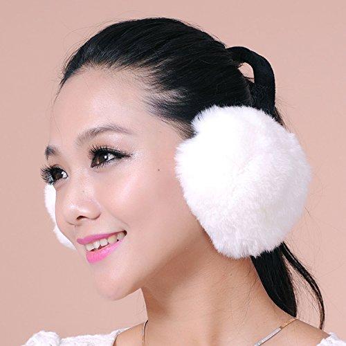 Rex Rabbit Fur Erica Earmuffs Ear Muffs Multicolors (White) by URSFUR (Image #1)