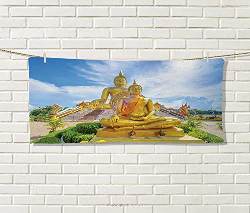 (Anniutwo Sculptures,Travel Towel,Serene Mediating Statue Temple Spirituality Mind Concentration Theme Art,Quick-Dry Towels,Yellow Blue Green Size: W 14
