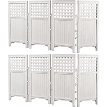 Suncast Outdoor Garden Yard 4 Panel Screen Enclosure Gated Fence, White (2 Pack)