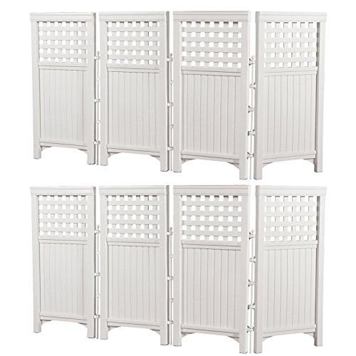 Suncast Outdoor Garden Yard 4 Panel Screen Enclosure Gated Fence, White (2 Pack) (Resin Panel)