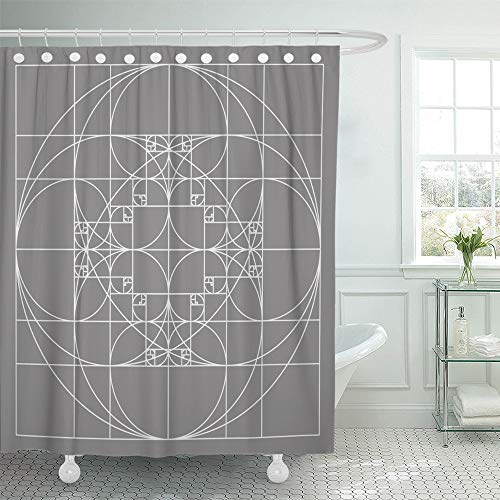 Emvency Shower Curtain Set Waterproof Adjustable Polyester Fabric Fibonacci Golden Ratio Patterns Sacred Geometry Spiral Gold Sequence 1.618 72 x 78 Inches Set with Hooks for Bathroom (Pattern Gold Spiral)